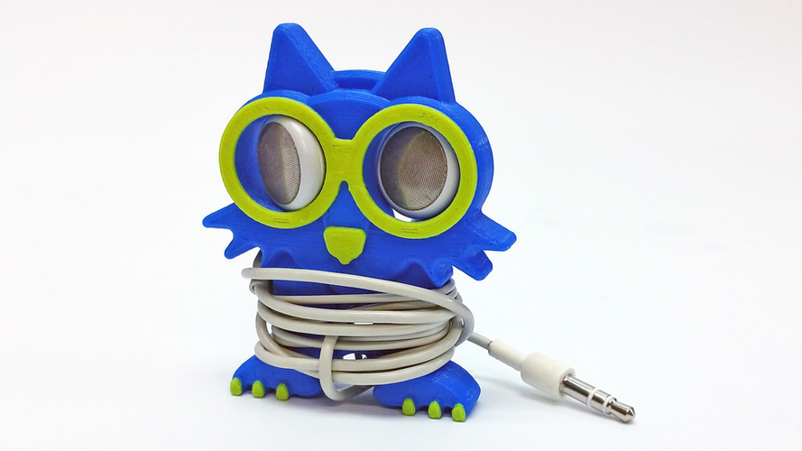 Fat Cat Earbud Holder (Headphone Holder) 3D Print 100078