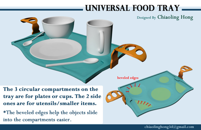 Universal Food Tray (Within Reach Design Competition) 3D Print 100283