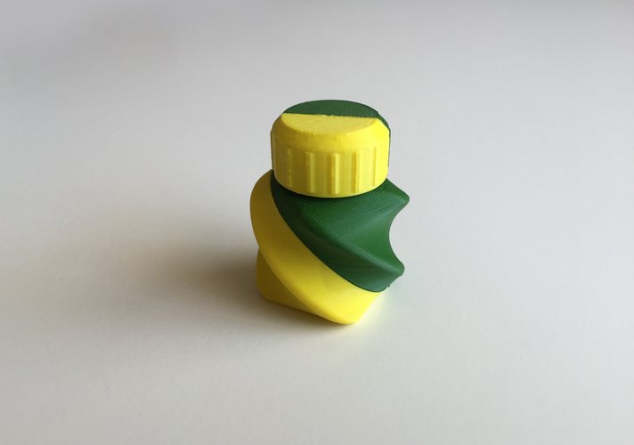 Twisted Bottle & Screw Cup (Dual Extrusion / 2 Color) 3D Print 100873