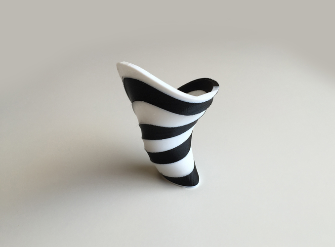 3d Printed Zebra Vase Dual Extrusion 2 Color By David Mussaffi