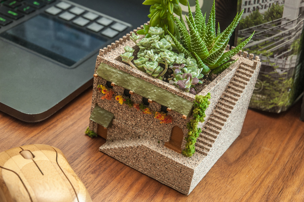 Medium Mini Middle Eastern Villa Planter 3D Printing 101126