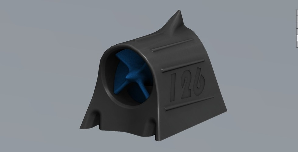Mini Hood Scoop with turbine 3D Print 101809