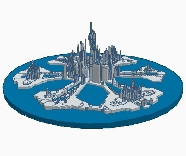 Stargate city of Atlantis (water/no-support remix) 3D Print 102093