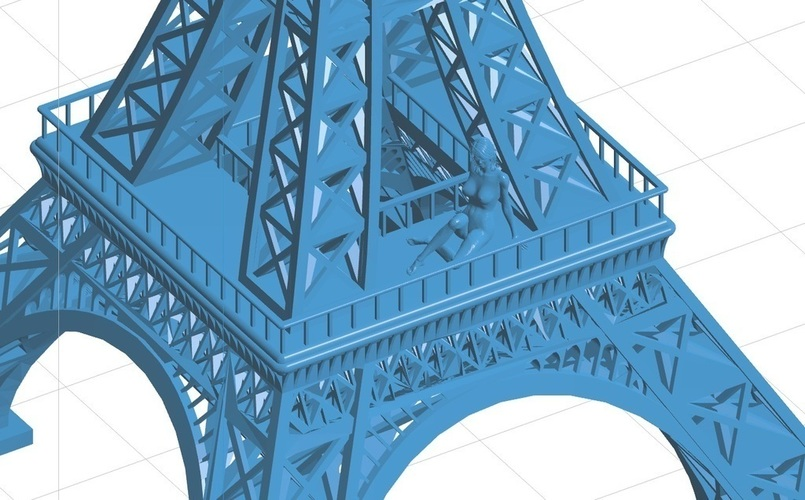 Eiffel Tower with Girl on it 3D Print 102374