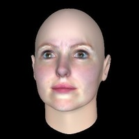 Small Women Android Face for latex Mask 3D Printing 102379