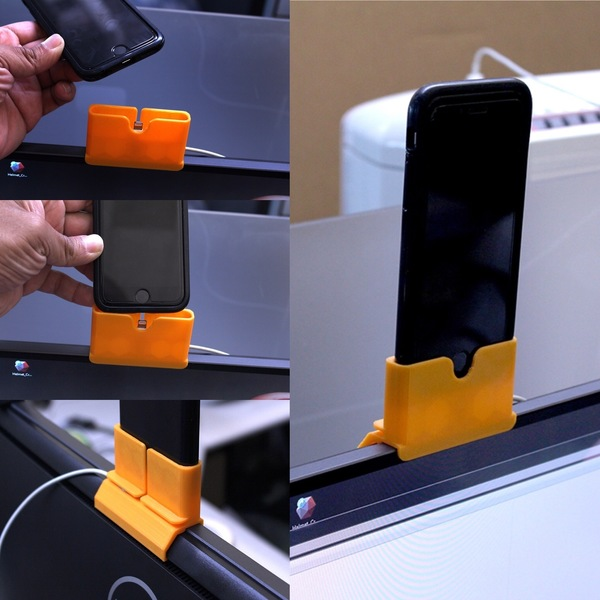 Medium iPhone Charging Mount for DELL U2715H Monitor 3D Printing 102741