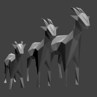 Small Low Poly Goat Family 3D Printing 102750