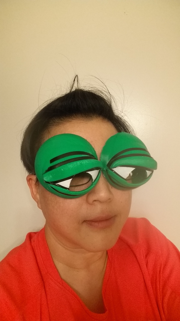 Medium Pepe the Frog Holloween Costume Eyeglasses Tie-on 3D Printing 103022