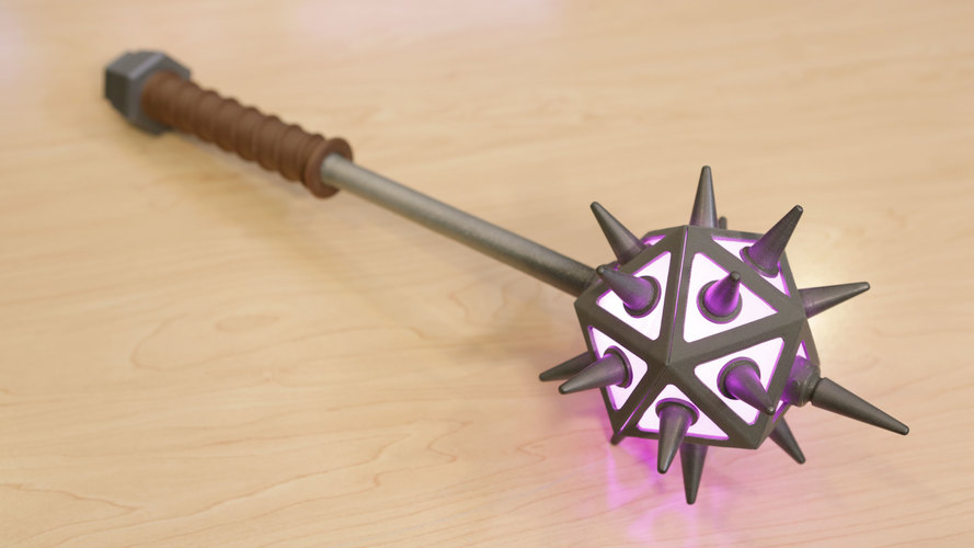 Glowing Icosahedron Mace with Spikes 3D Print 103047