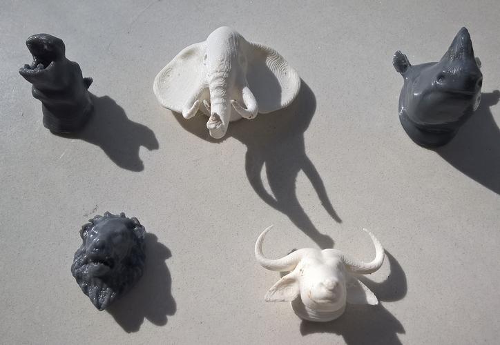 Refrigerator magnet rhino, lion,buffalo ,hippo and elephant