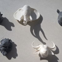 Small Refrigerator magnet rhino, lion,buffalo ,hippo and elephant  3D Printing 103108