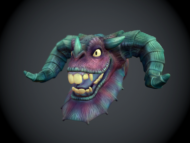 Jabberwock Head Wall Art 3D Print 10343