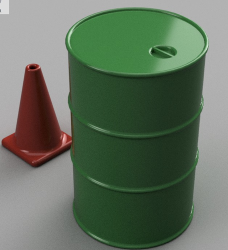 1/10th Scale Items (55Gal Drum, Road Cone) 3D Print 103495