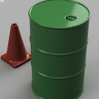Small 1/10th Scale Items (55Gal Drum, Road Cone) 3D Printing 103495