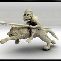 Small 52mm Goblin Knight Charging on Giant Wolf 3D Printing 104163