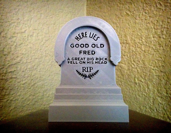 Medium Haunted Mansion Tombstone - Here Lies Good Old Fred 3D Printing 104624