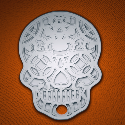 Sugar Skull Key Ring 3D Print 104918