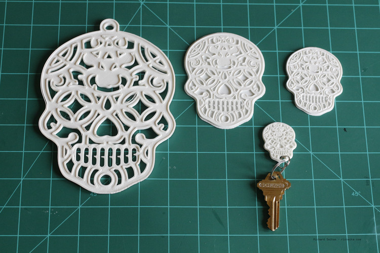 Sugar Skull Key Ring 3D Print 104953