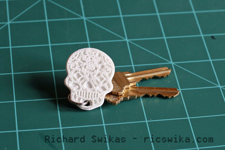 Sugar Skull Key Ring 3D Print 104956