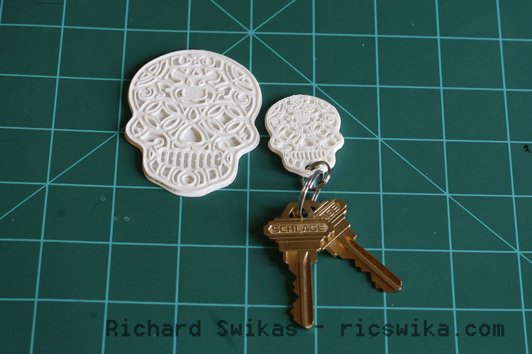 Sugar Skull Key Ring 3D Print 104957