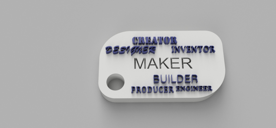 Maker Words Keychain 3D Print 105177