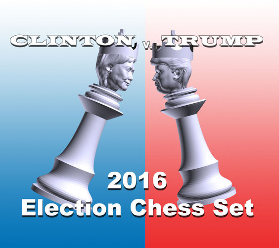 Clinton vs Trump Chess Set 3D Print 105457