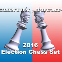 Small Clinton vs Trump Chess Set 3D Printing 105457