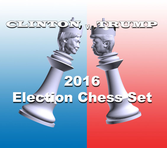 Clinton vs Trump Chess Set 3D Print 105458
