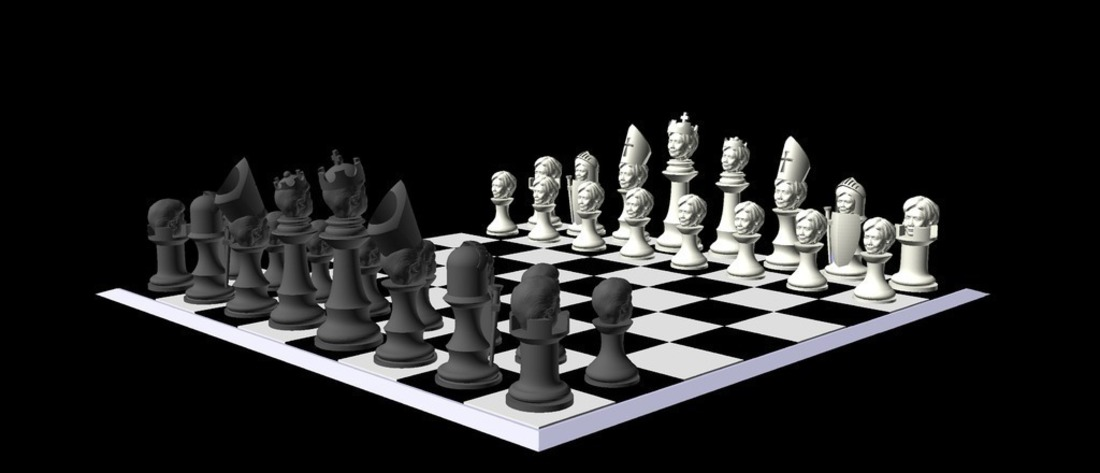 Clinton vs Trump Chess Set 3D Print 105463