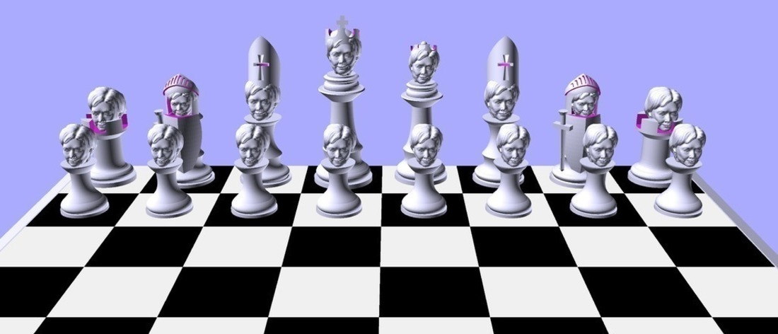 Clinton vs Trump Chess Set 3D Print 105464