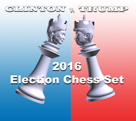 Clinton vs Trump Chess Set 3D Print 105466