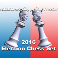 Small Clinton vs Trump 2016 Election Chess Set 3D Printing 105478
