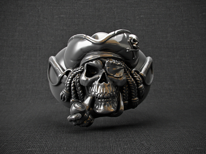 "ring ""pirate skull"" 3D Print 105828"