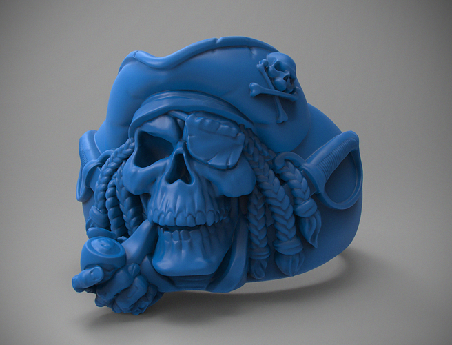 "ring ""pirate skull"" 3D Print 105829"