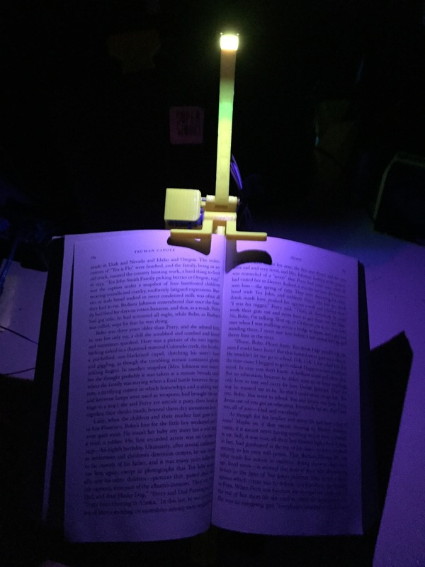 Medium NightBook Holder with LED and Servo 3D Printing 106262