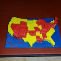 Small 48 States Drug Overdose per 100K 2014 (3 colors) 3D Printing 106678