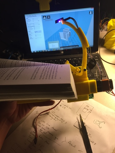 NightBook Holder with LED and Servo 3D Print 106750