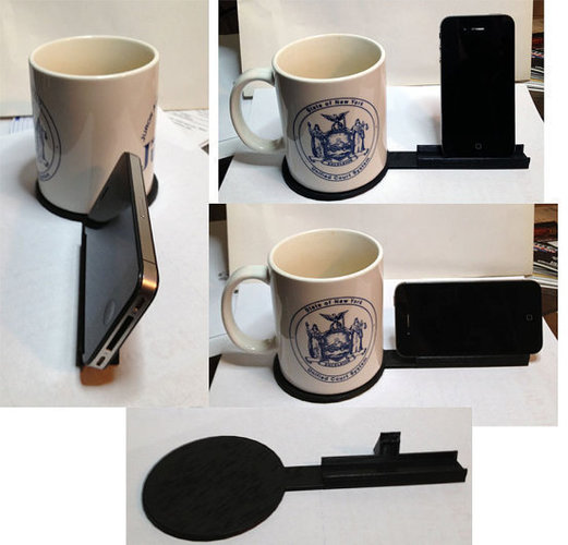 Coffee Coaster and iPhone Holder for Desk **UPDATED VERSION 3D Print 107608