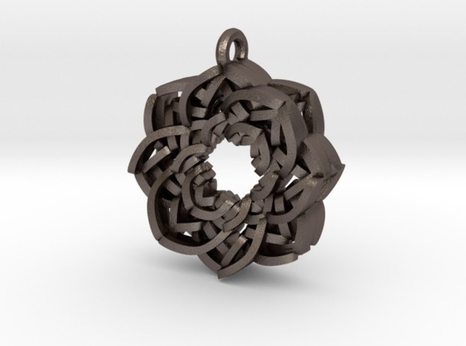 Layered Flower Necklace Pendant 3D Print 10779