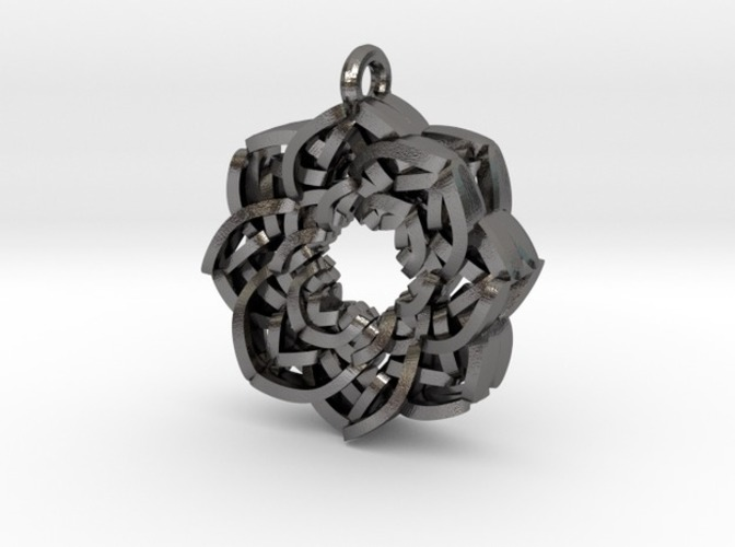 Layered Flower Necklace Pendant 3D Print 10781