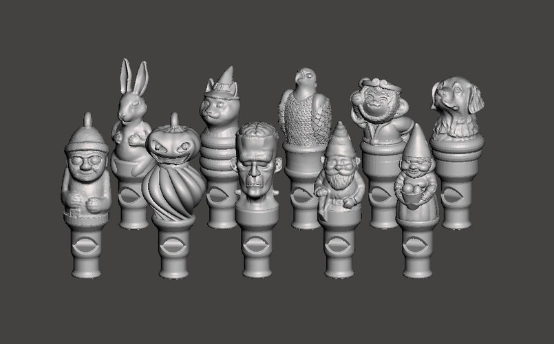 10 Character Whistles 3D Print 108370