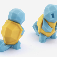 Small Low-Poly Squirtle - Multi and Dual Extrusion version 3D Printing 108545