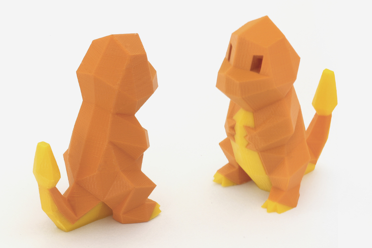 Low-Poly Charmander - Multi and Dual Extrusion version 3D Print 108549