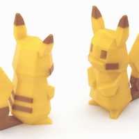 Small Low-Poly Pikachu  - Multi and Dual Extrusion version 3D Printing 108675