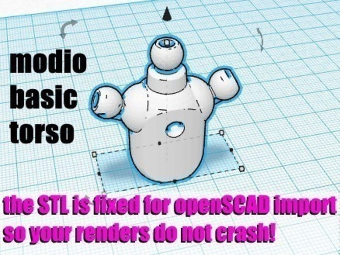 Modio remeshed Basic Torso 3D Print 109156