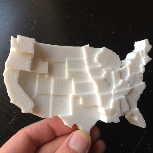 United States by Average Daily Precipitation 3D Print 110109