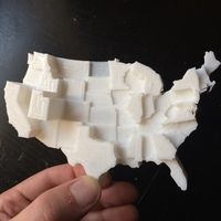 Small United States by Average Family Size 3D Printing 110111