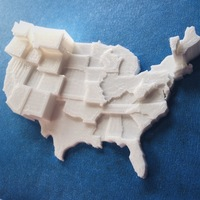 Small United States by UFO sightings (no border) 3D Printing 110112