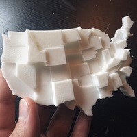 Small United States by Gun Ownership 3D Printing 110118