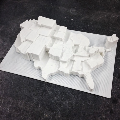 United States by Suicide Rate (per capita) 3D Print 110125